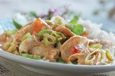 Red Curry broileripata kookosmaidolla Santa Maria, Frisk, Shrimp, Mango, Chicken, Meat, Lime, Koti, Pineapple