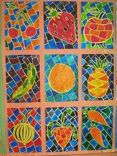 Ovoce a zelenina :: M o j e v ý t v a r k a Food Art For Kids, Crafts For Kids, Arts And Crafts, Fruit Art Kids, Classroom Art Projects, Art Classroom, Jr Art, 4th Grade Art, Ecole Art