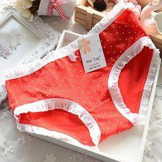 Dmart7dealSexy Women Girls Panties Underpants Cotton Briefs Cute Polka Dots Underwear Brief Plus Size HL2