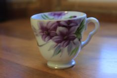 Vintage china hand painted tea cup with delicate purple flowers by StonesThrowTreasures on Etsy