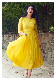 Feria Yellow Chanderi dress