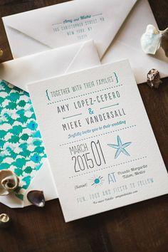 Letterpress Wedding Invitation: Whimsical Beach by WideEyesPaperCo