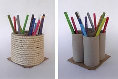 Recycled Toilet Paper Roll Pencil Holder