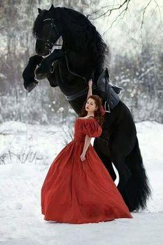 Cok guzel bir resim.Atin ve bayanin durusu şahane. Victorian, Dresses, Most Beautiful Horses, Friesian, Fashion, Vestidos, Moda, Gowns, Friesian Horse