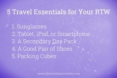 5 #travel gear essentials for an #RTW. See more essentials here: http://www.thetravelgearreviews.com/travel-essentials-rtw-packing-list