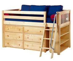 Maxtrix KICKS Low Loft Bed w/ Dresser & Bookcase Twin Size Natural