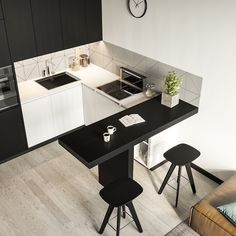 simple and modern style kitchen design for small kitchen decorating ideas or kitchen remodel Small Apartment Interior, Small Apartment Kitchen, Small Apartment Design, Home Decor Kitchen, Kitchen Living, Small Apartments, Interior Design Kitchen, Home Kitchens, Kitchen Small