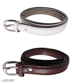 Belts Faux Leather Women's Belts Combo Material: Faux Leather   Size: 26 in 28 in 30 in 32 in 34 in  Description: It Has 2 Pieces Of Women's Belts Pattern : Solid Country of Origin: India Sizes Available: Free Size, 24, 26, 28, 30, 32, 34 *Proof of Safe Delivery! Click to know on Safety Standards of Delivery Partners- https://ltl.sh/y_nZrAV3  Catalog Rating: ★3.9 (861)  Catalog Name: Stylish Faux Leather Women'S Belts Combo Vol 1 CatalogID_336346 C72-SC1081 Code: 981-2501970-