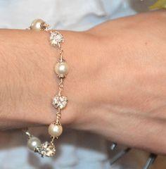 Pearl Bracelet Bridal Jewelry Swarovski Jewelry by JDSWeddings, $35.00