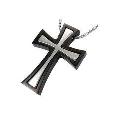 """Edelstahlanhänger """"Magnetkreuz""""    Farbe silber / schwarz    Der Preis bezieht sich auf den Anhänger alleine. Dieser ist magnetisch, das silberfarbene"""