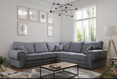Large Jumbo Cord Dino Corner Sofa 3 Seater 2 Seater Black /& Grey Fabric Monty