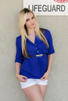 Cobalt Woven Tunic Blouse with Contrast Belt at waist