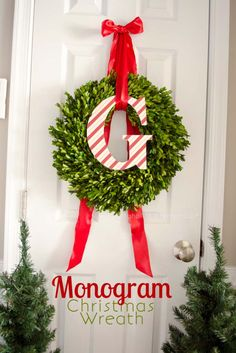 DIY Holiday Wreaths Make Awesome Homemade Christmas Decorations for Your Front Door |  Cool Crafts and DIY Projects by DIY JOY   |  Monogram Christmas Wreath  |  http://diyjoy.com/diy-christmas-decorations-wreaths