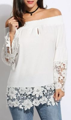 Peace & Lust Off-Shoulder Lace Top - White Casual Outfits For Teens, Stylish Outfits, Madame, Lace Tops, Dress Patterns, Blouse Designs, Blouses For Women, Dress Outfits, Couture