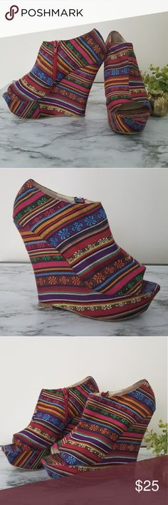 """Open Toe Wedge Ethnic Bootie/Shootie Size 8 Super Cool, Fun and so Ibiza syle! A wraped platform wedge rifine and sleek open-toe shootie (stands under ankle). 3"""" inch zipper closure 1.5"""" platform height 5.5"""" Wedge/Heel  Some marks in the sole (check pictures) Shasa Shoes Wedges"""