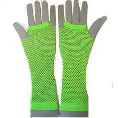 Fishnet Gloves Long UV Green - Alternative, Gothic, Emo Clothing ($4.53) found on Polyvore