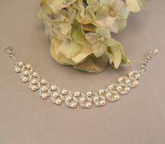 Crema perla y pulseras de cristal joyería del día la boda de