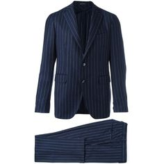 Tagliatore pinstriped suit (€665) ❤ liked on Polyvore featuring men's fashion, men's clothing, men's suits, blue, mens blue suit, mens pinstripe suit and mens blue pinstripe suit