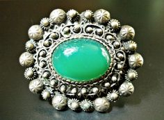 Green Chrysoprase Cannetille 800 Silver Brooch, Georgian to Pre-Victorian, Trombone Clasp, Antique