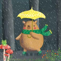 Bear in the rain © Gina Maldonado 2016 cocogigidesign.com #illustration #cute