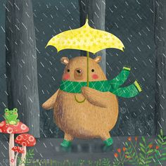 Bear in the rain © Gina Maldonado 2016 cocogigidesign.com #illustration #cute
