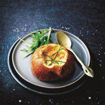 Brioches au foie gras et œufs cocotte                                                                                                                                                                                 Plus