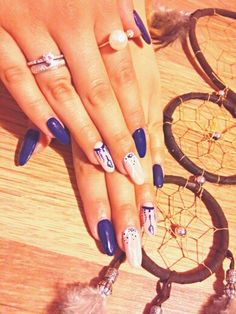 Nails#blue#nude#dreamcatcher#