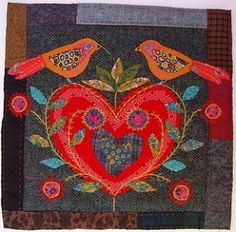 Textile art from Gallery One by Mandy Pattullo Art Textile, Textile Artists, Felt Applique, Applique Quilts, Wool Embroidery, Embroidery Patterns, Knit Patterns, Vogel Quilt, Wool Quilts