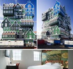 Inntel Hotel, Zaandam. Looks like a stack of homes in similar architecture to the houses in the region. Building styles range from a notary's residence to a worker's cottage. Eleven floors tall with 160 rooms. Check out the post for all the 14 hotels featured!