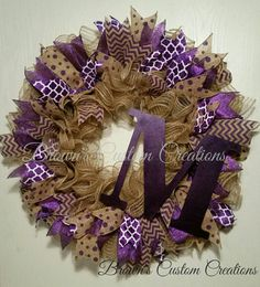 Check out this item in my Etsy shop https://www.etsy.com/listing/266785557/burlap-poly-mesh-wreath-with-purple
