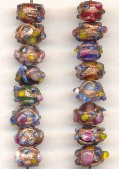 On sale this week: lampwork beads in flowery hues.