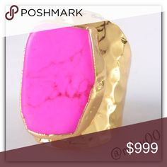 """Coming Soon! Hot Pink Howlite Turquoise Gold Ring! Coming Soon!  ✨More pics on Arrival! ✨Natural Howlite Turquoise Stone, Hot Pink Color, Measures 1""""X0.7""""X0.3""""; 18K Yellow Gold Filling  *NO TRADES *Prices are FIRM-Listed at Lowest Price Unless BUNDLED! *Sales are Final-Please Read Descriptions! Boutique Jewelry Rings"""