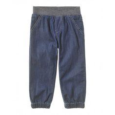 Pantalone denim, con vita in costina ed elastico interno. Due tasche a filetto frontali e due finte tasche a cuore sul retro. Chiusura con fascia in jersey fondo caviglia.4AQE5509P blue