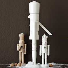 paint nutcrackers white for a clean holiday look