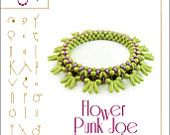 Bracelet Bangle tutorial / pattern Flower Punk Joe with superduo beads ..PDF instruction for personal use only