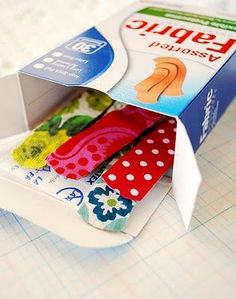make 'cute' bandaids for a lot cheaper then the  fancy kids ones, by taking 'boring bandaids' and gluing fabric of your choice to them.
