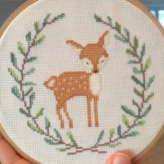 [FO] of 3 woodland critters I'm stitching for my cousin's nursery - Woodland Cross Stitch – deer - Cross Stitch Letters, Cross Stitch Fabric, Cross Stitch Borders, Cross Stitch Baby, Cross Stitch Samplers, Cross Stitch Animals, Cross Stitch Kits, Counted Cross Stitch Patterns, Cross Stitch Designs