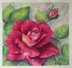 Rose Flowers Still Life Original Watercolor Painting by PDisanska