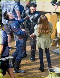 Behind the scenes of Civil War. HEY. YOU GUYS AREN'T SUPPOSED TO BE FRIENDS