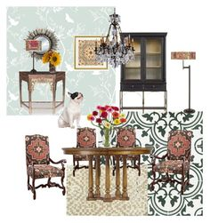 """Boho Diningroom"" by silverlime2013 on Polyvore featuring interior, interiors, interior design, home, home decor, interior decorating, Merola, Timorous Beasties, Stanley Furniture and Giclee Glow"