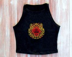 Black Crop Top With Embroidered Lion-Yoga Crop by ZellyaDesigns