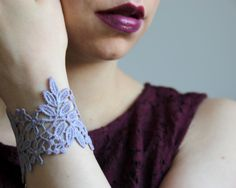 Lace cuff bracelet! Burgundy, purple taupe, grey taupe, bracelet. Gift for her, gift for woman. by LaurasPills on Etsy