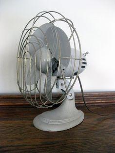 Vintage Desk Fan, Light Blue / Gray Vintage Table Fan, Working Condition, Dominion Fan