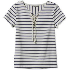 L.L.Bean Signature Signature Nautical French Sailor Tee, Stripe (59 AUD) ❤ liked on Polyvore featuring tops, t-shirts, shirts, tees, cotton t shirts, sailor shirt, t shirt, fitted t shirts and nautical t shirts