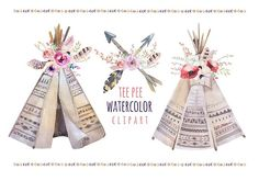 Watercolor boho teepee & bouquets by Peace ART on @creativemarket