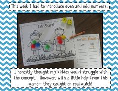 """Even - Odd Center  - Roll dice - Use manipulatives and sheet/mat to decide whether it's a """"fair share"""" - even or odd"""