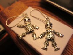 Estate Vintage Marcasite Marionette 925 Sterling Silver Large French Wire Dangle Earrings  10 Grams
