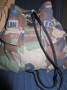 recycled military uniform bags - contact twoisacharm@gmail.com