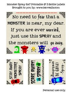 "DIY Monster ""Go Away"" Spray!  with Free Printables!"