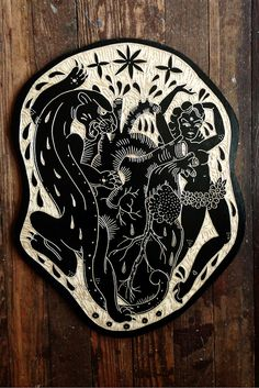 Panther heart girl, Tattoo Wood Carvings by Bryn Perrott